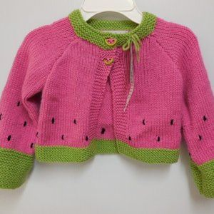 Hand Knitted Watermelon Cardigan